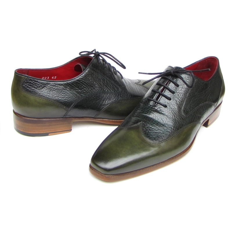 Paul Parkman Floater Leather Wingtip Oxfords Green Image