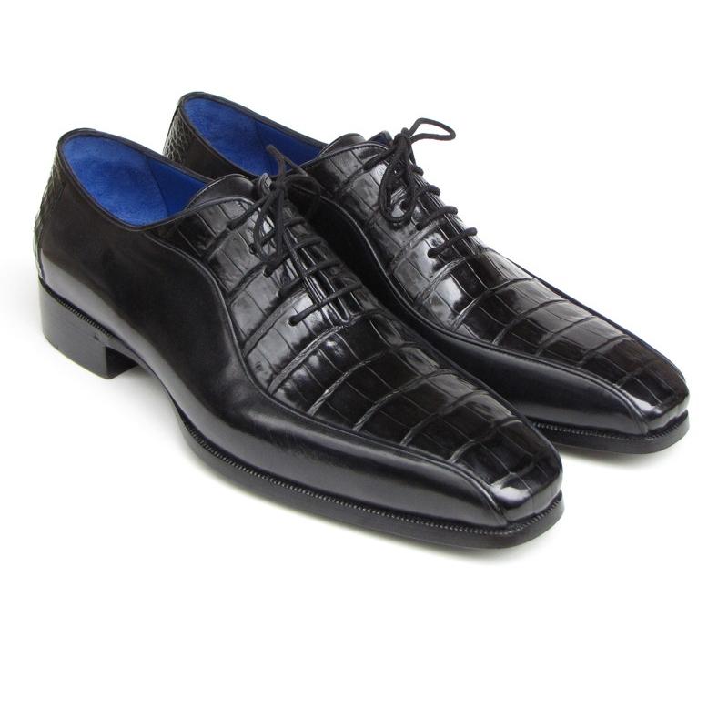 Paul Parkman Genuine Crocodile Bicycle Toe Shoes Black Image