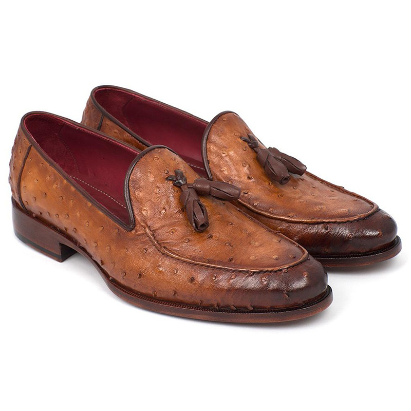 Paul Parkman Genuine Ostrich Tassel Loafers Camel Brown Image