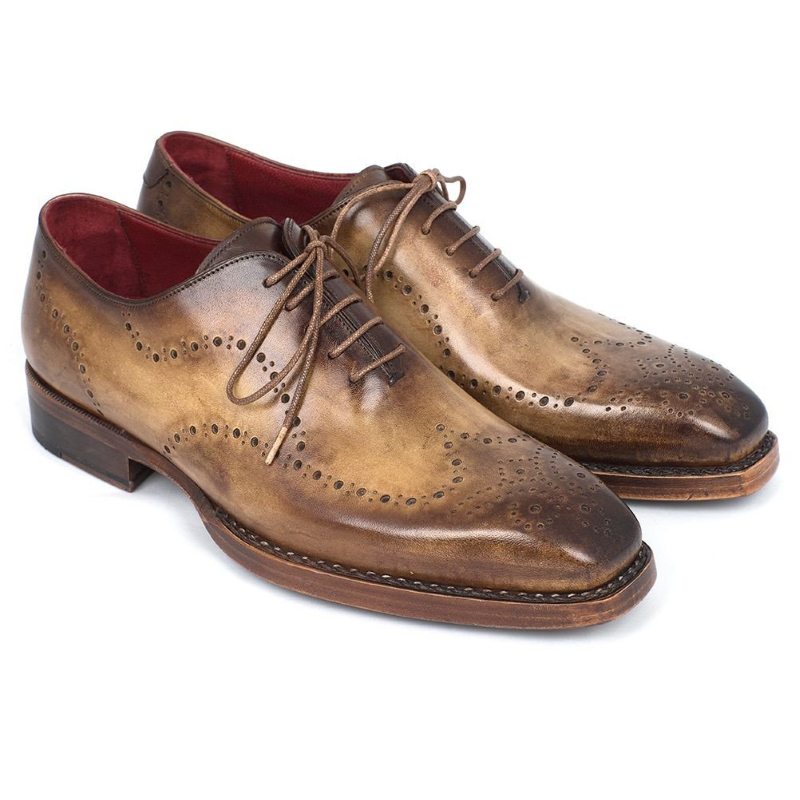 Paul Parkman Goodyear Welted Wingtip Oxfords Antique Tan Image