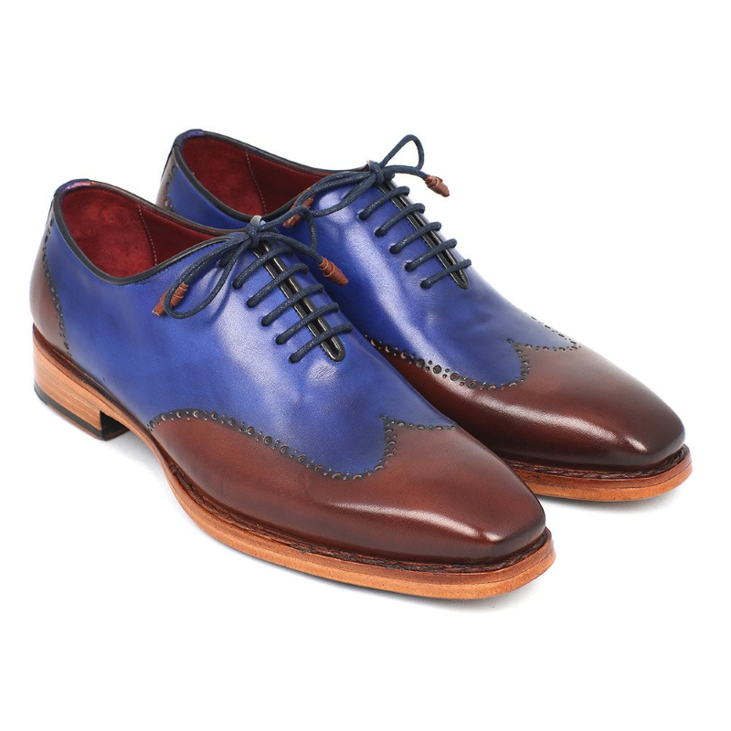 Paul Parkman Goodyear Welted Wingtip Shoes Blue / Brown Image