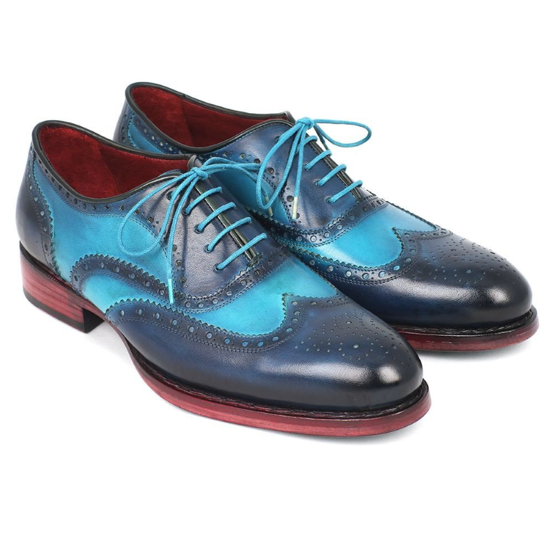 Paul Parkman Goodyear Welted Wingtip Oxfords Turquoise / Blue Image