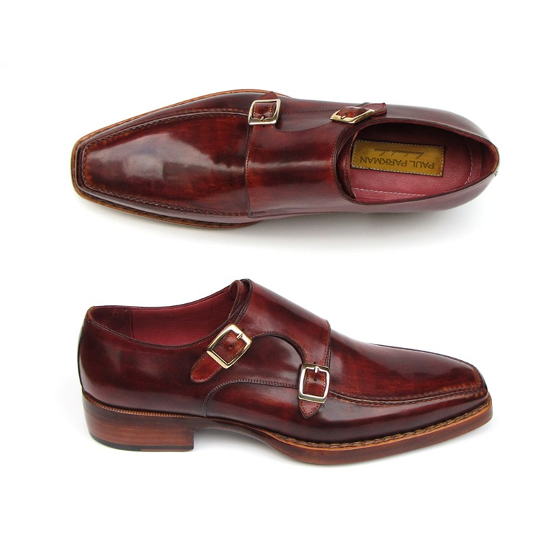 Paul Parkman Double Monk Strap Shoes Bordeaux Image