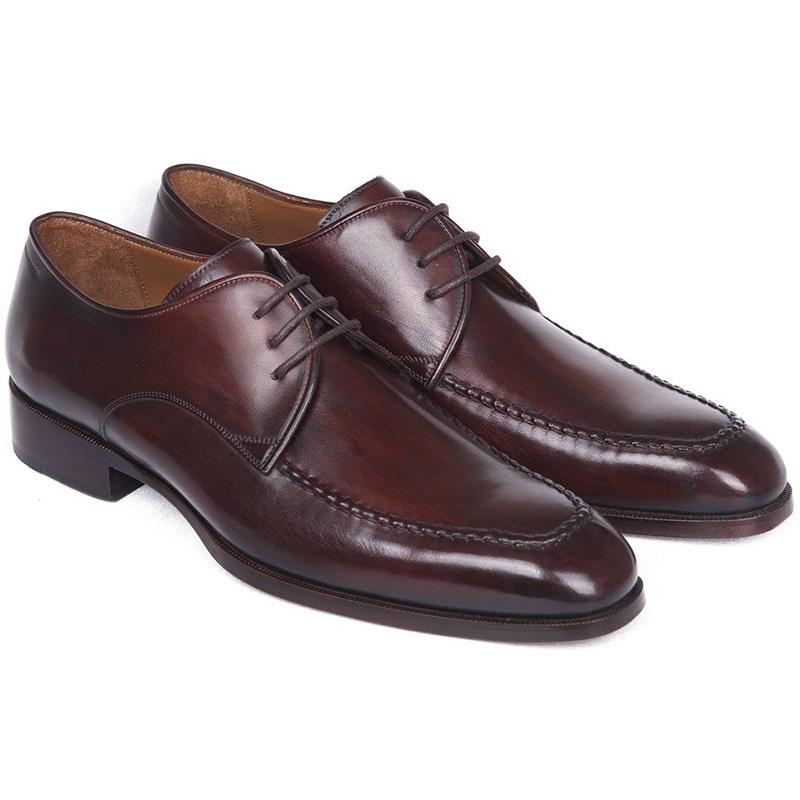 Paul Parkman Leather Apron Derby Shoes Brown & Bordeaux Image