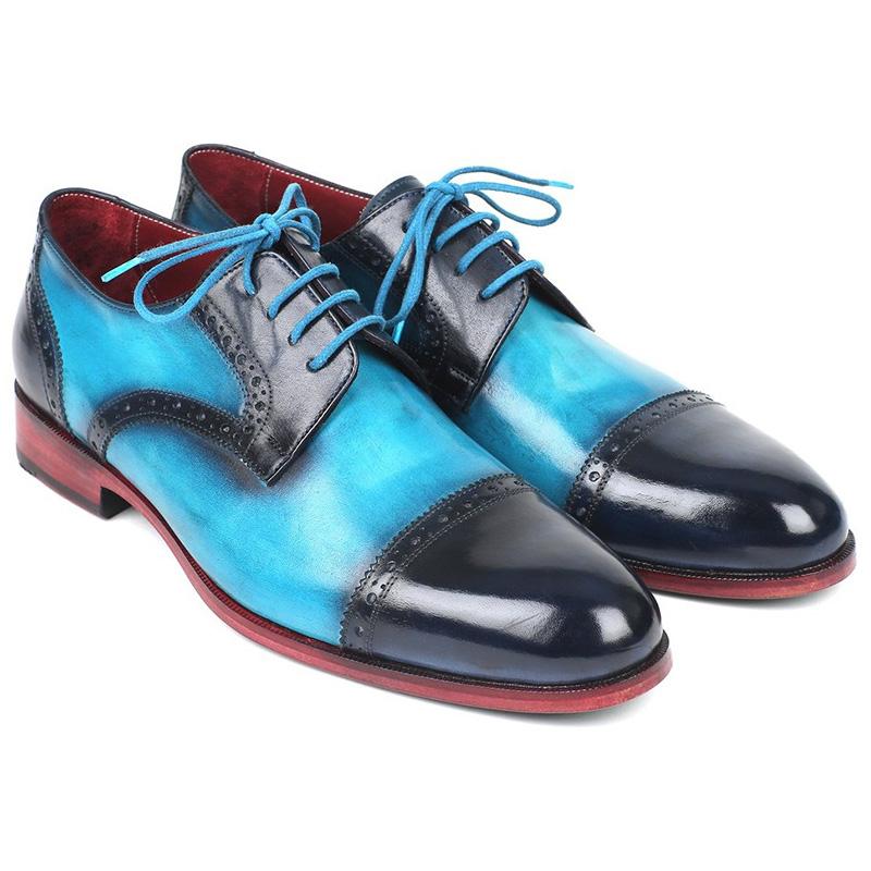 Paul Parkman Leather Cap Toe Derby Shoes Blue & Turquoise Image