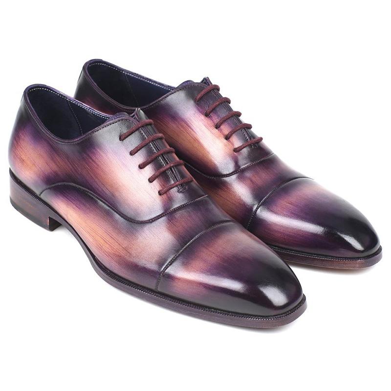 Paul Parkman Leather Cap Toe Oxfords Purple Image
