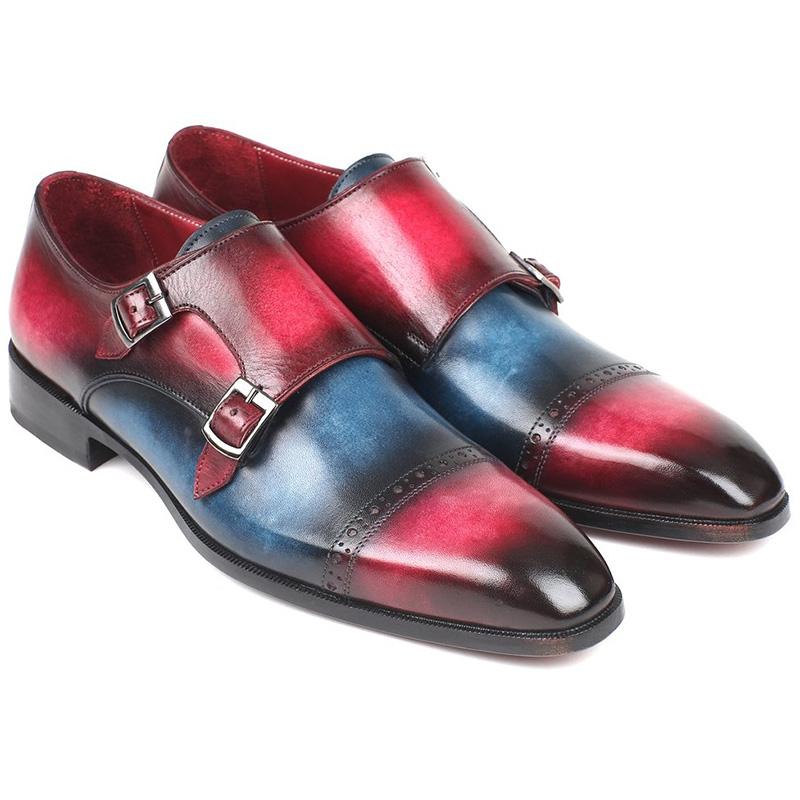 Paul Parkman Leather Double Monk Strap Shoes Blue & Fuxia Image
