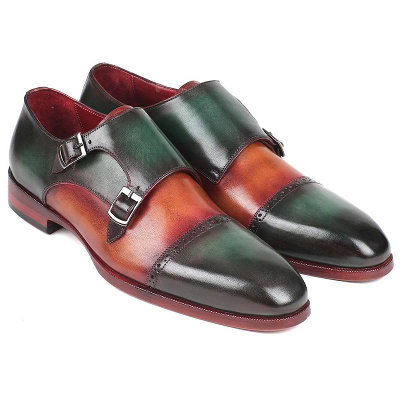 Paul Parkman Leather Double Monk Strap Shoes Green & Camel Image