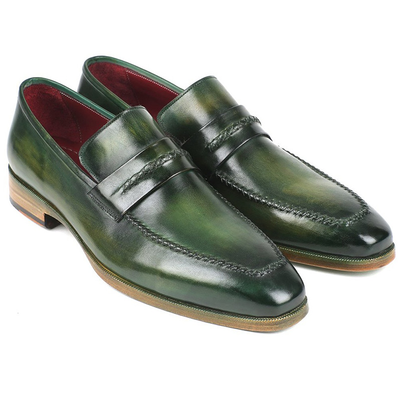 Paul Parkman Leather Loafer Shoes Green Image