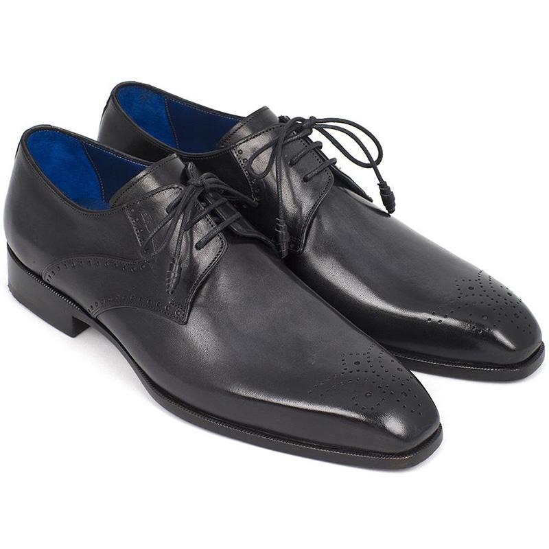 Paul Parkman Leather Medallion Toe Derby Shoes Black Image