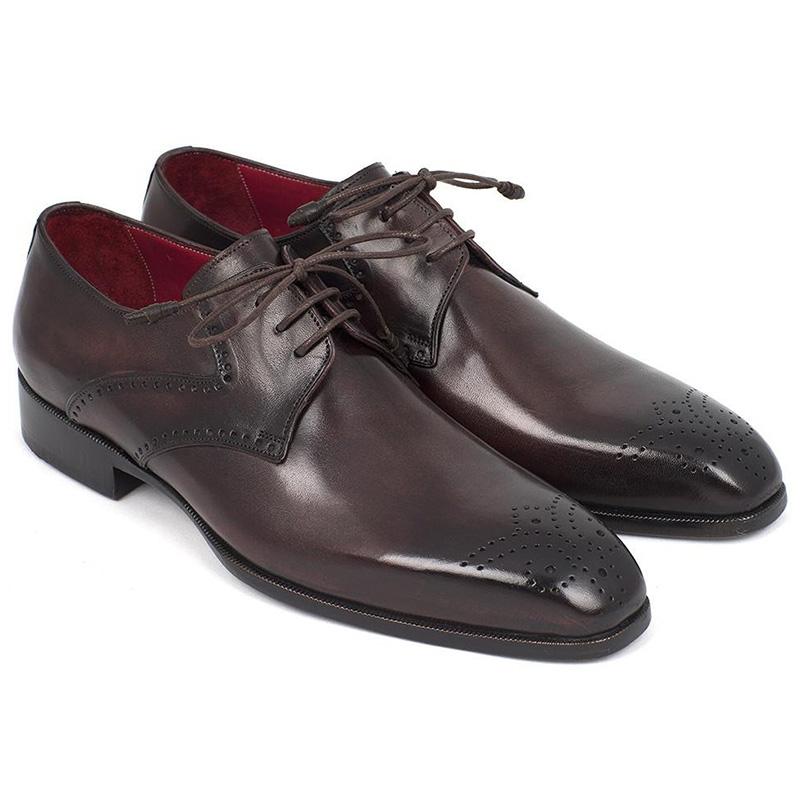 Paul Parkman Leather Medallion Toe Derby Shoes Brown Image
