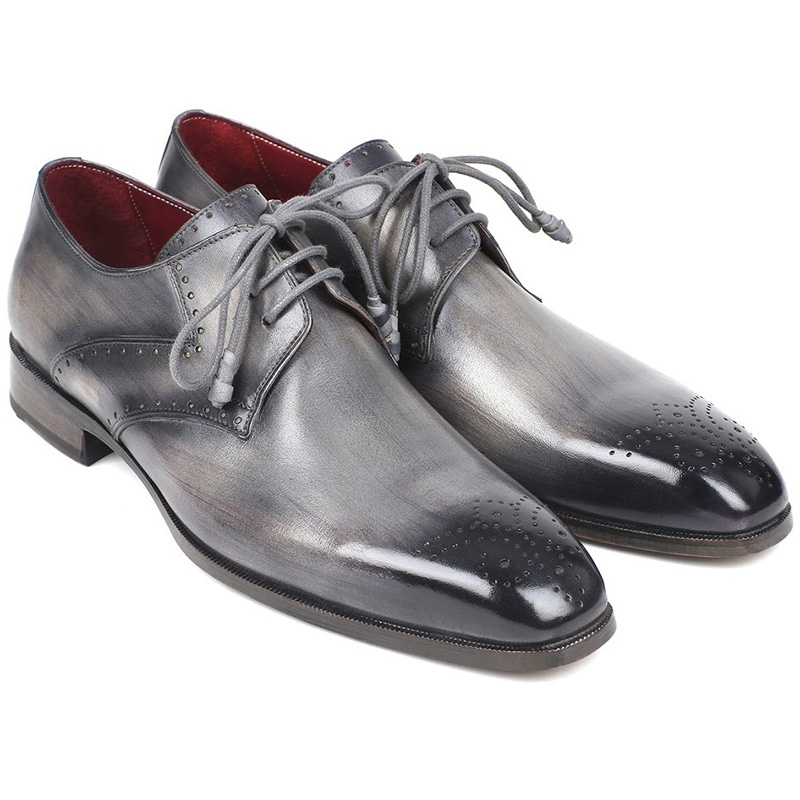 Paul Parkman Leather Medallion Toe Derby Shoes Gray Image