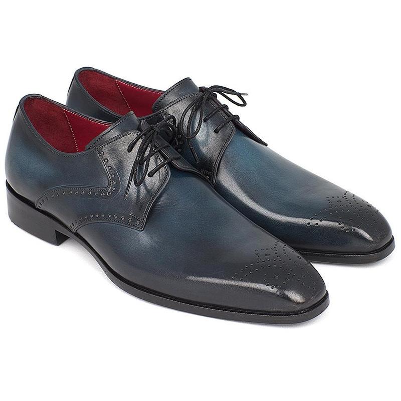 Paul Parkman Leather Medallion Toe Derby Shoes Navy & Blue Image