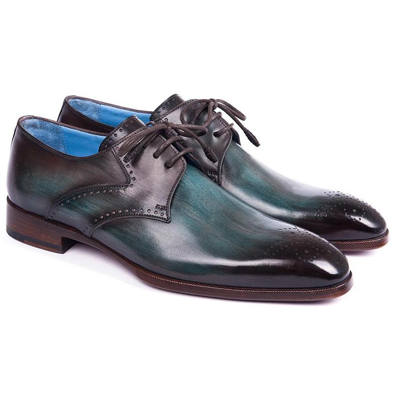 Paul Parkman Leather Medallion Toe Derby Shoes Turquoise & Brown Image
