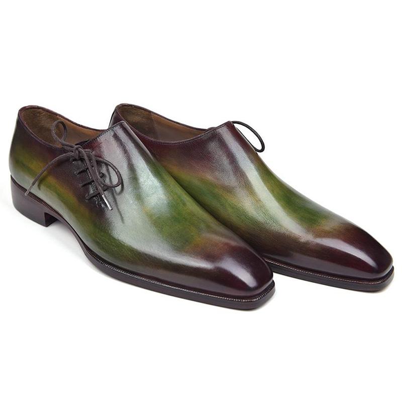 Paul Parkman Leather Side Lace Oxfords Green & Bordeaux Image