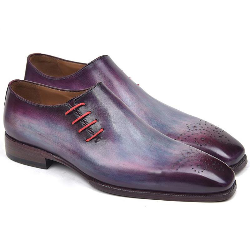 Paul Parkman Leather Side Lace Oxfords Purple Image