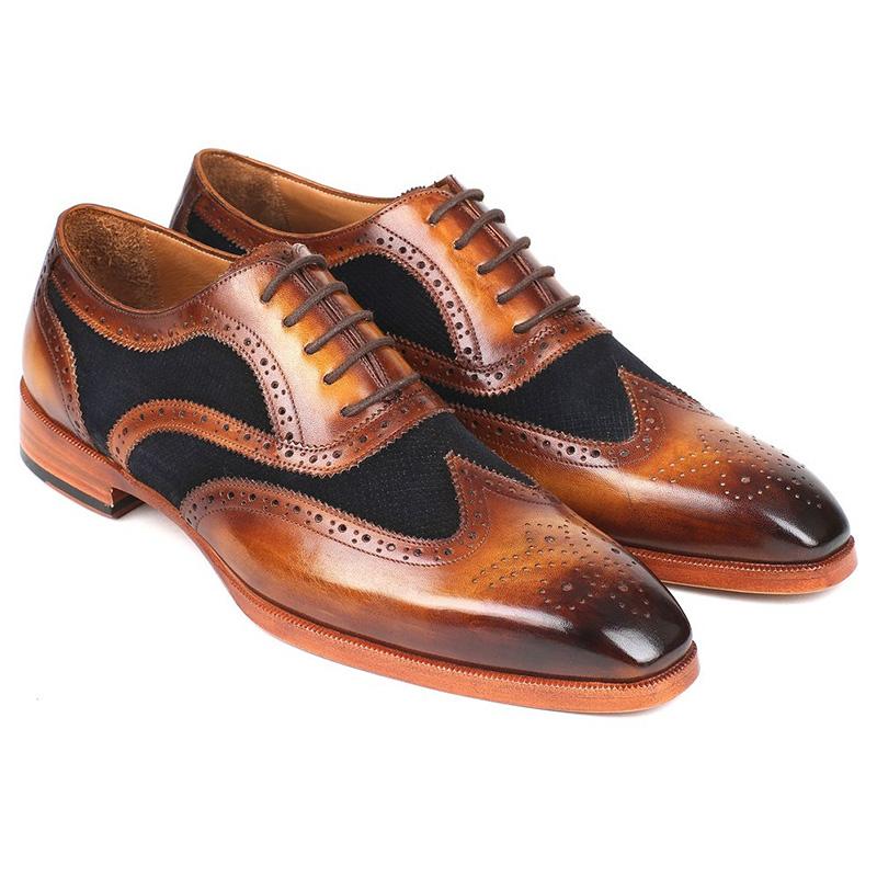 Paul Parkman Leather & Suede Oxfords Brown & Navy Image
