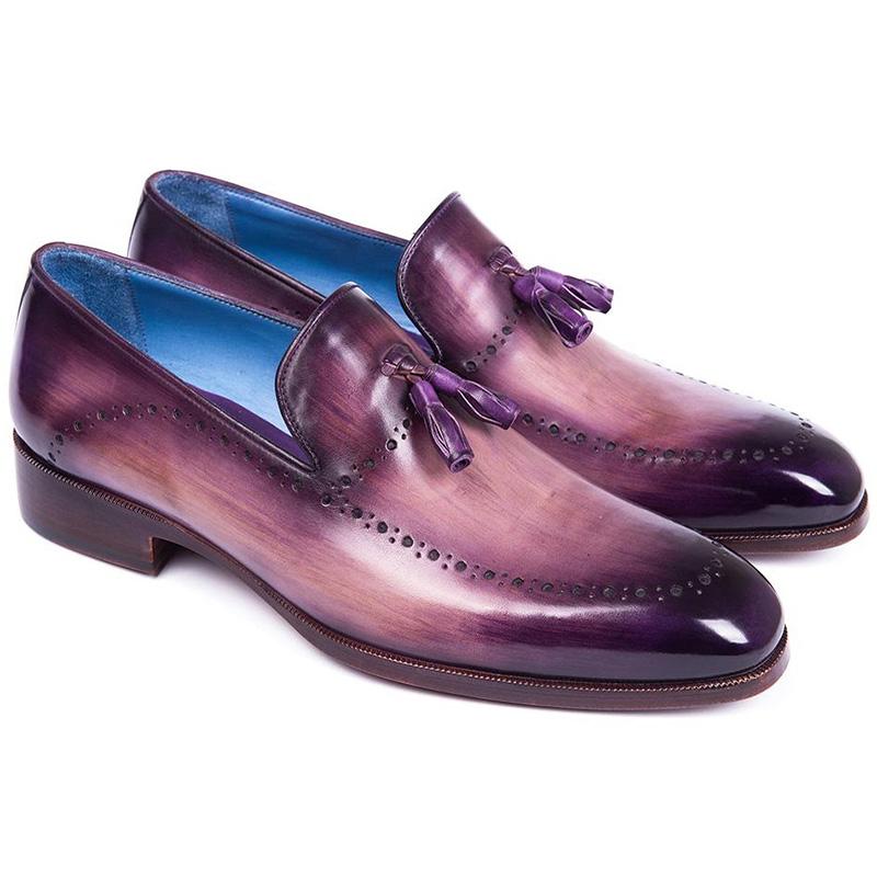 Paul Parkman Leather Tassel Loafer Purple Image