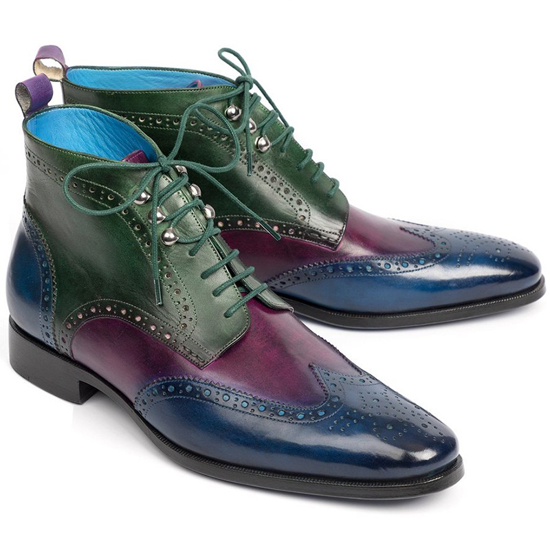 Paul Parkman Leather Wingtip Ankle Boots Three Tone Blue Purple Green Image