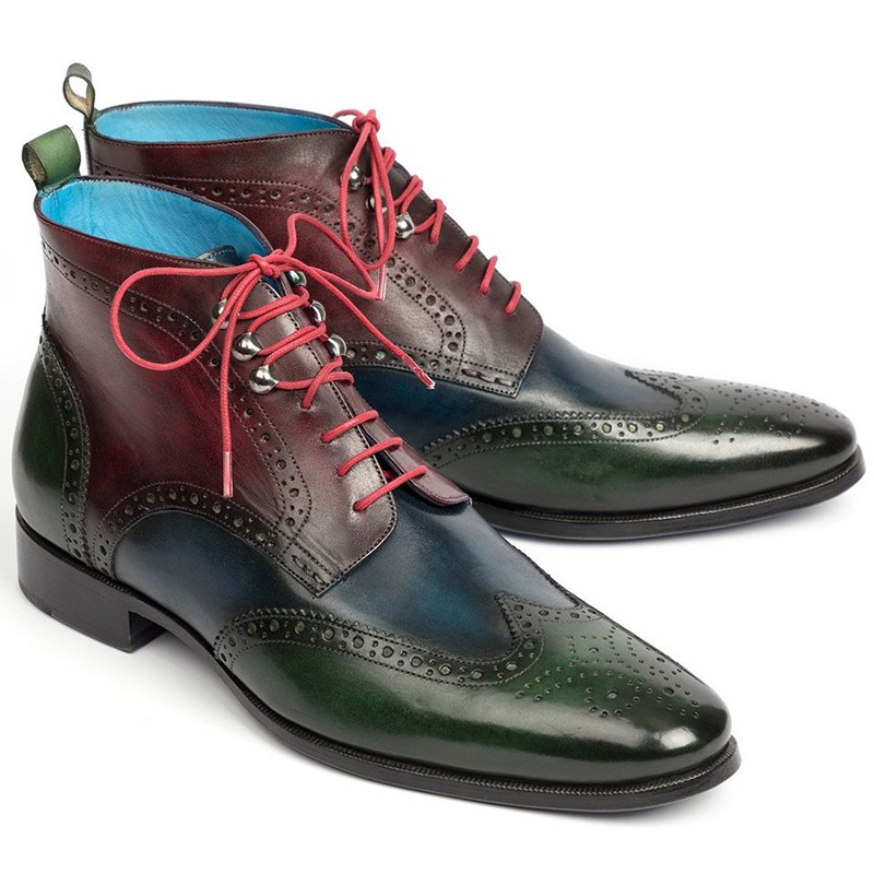 Paul Parkman Leather Wingtip Ankle Boots Three Tone Green Blue Bordeaux Image