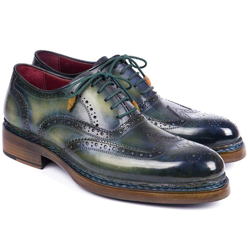 Paul Parkman Leather Wingtip Brogues Green & Blue Image