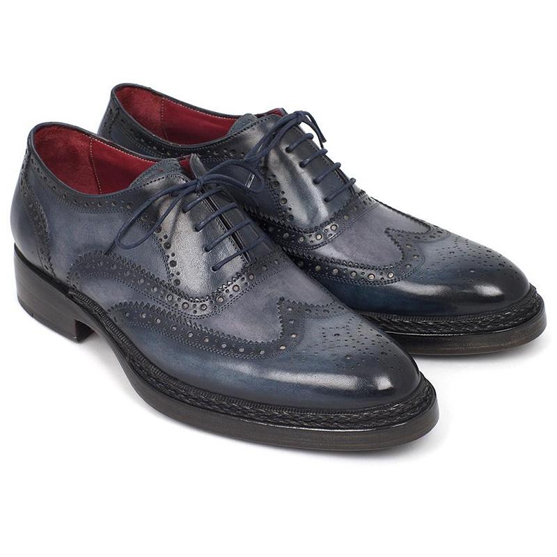 Paul Parkman Leather Wingtip Brogues Shoes Blue Image
