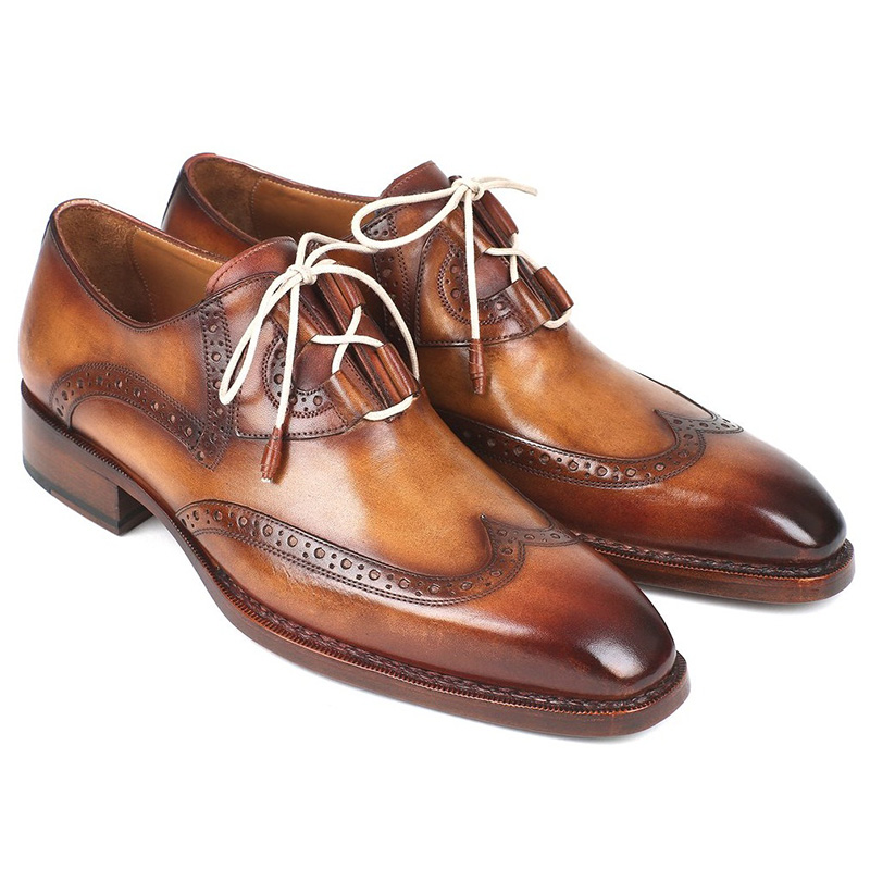 Paul Parkman Leather Wingtip Brogues Shoes Brown & Camel Image