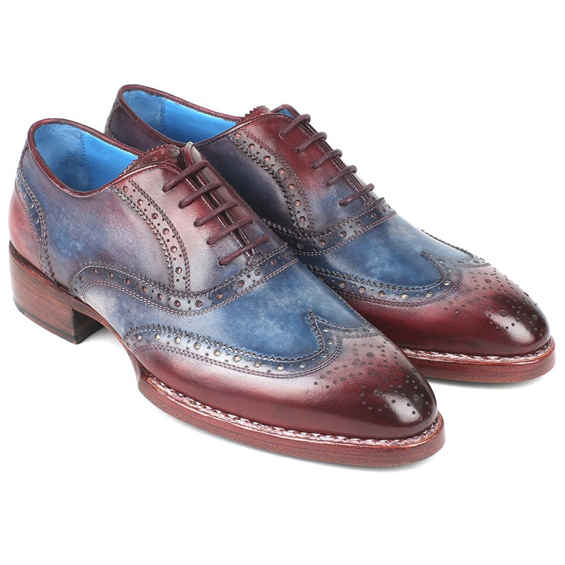 Paul Parkman Leather Wingtip Oxfords Blue & Bordeaux Image