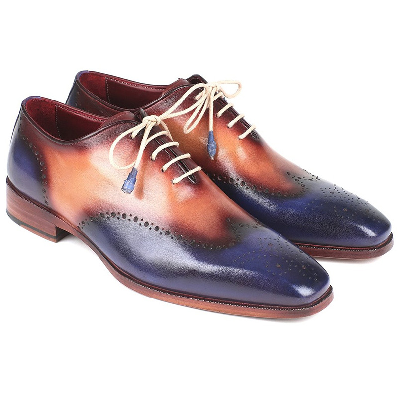 Paul Parkman Leather Wingtip Oxfords Blue & Camel Image