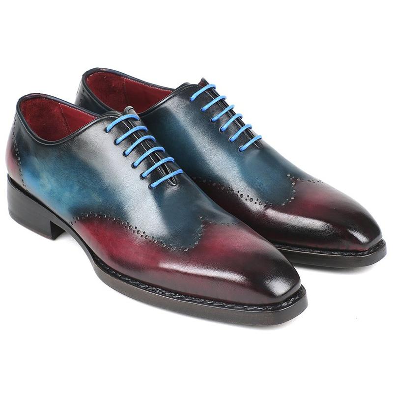 Paul Parkman Leather Wingtip Oxfords Blue & Purple Image