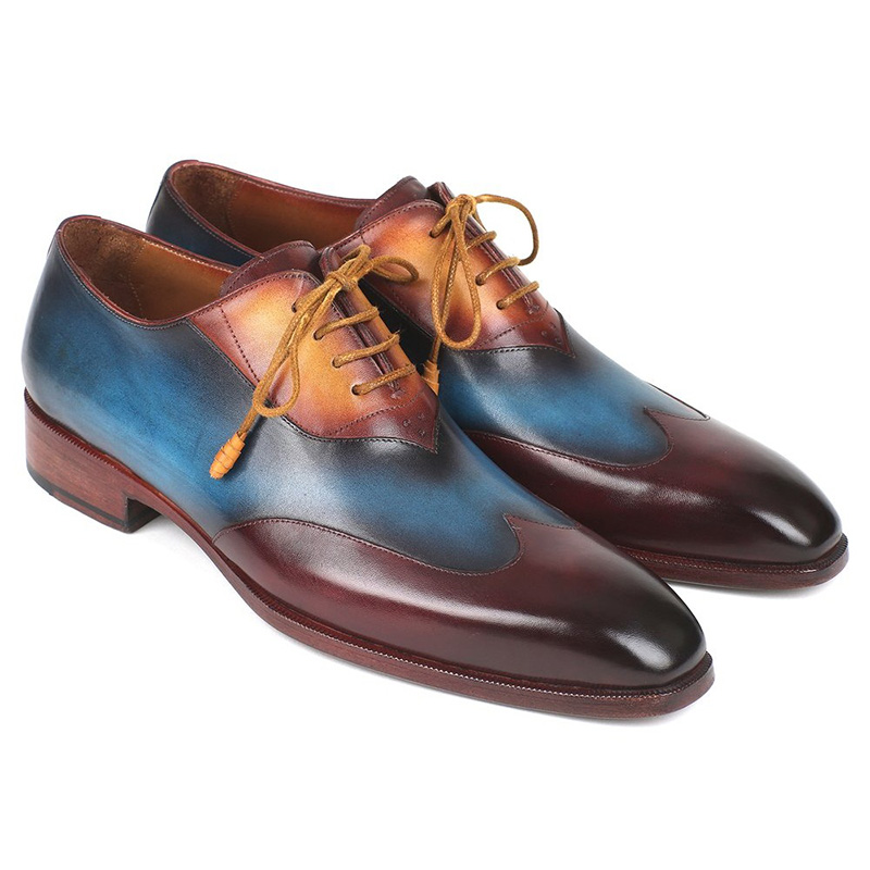 Paul Parkman Leather Wingtip Oxfords Bordeaux & Blue & Camel Image