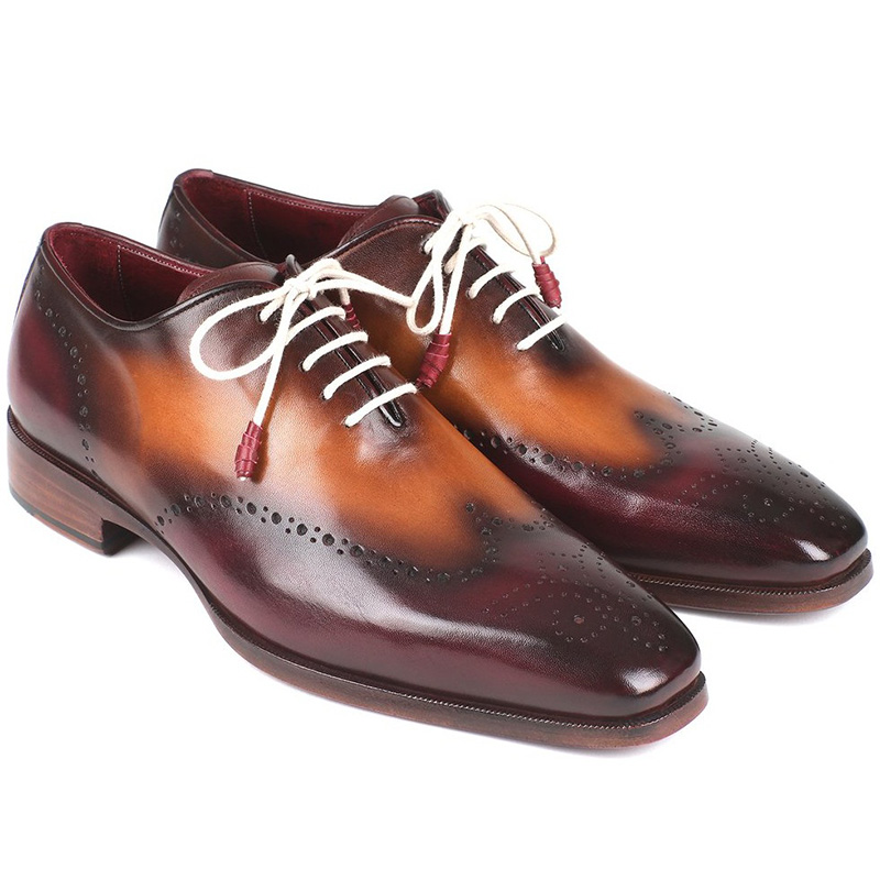 Paul Parkman Leather Wingtip Oxfords Bordeaux & Camel Image