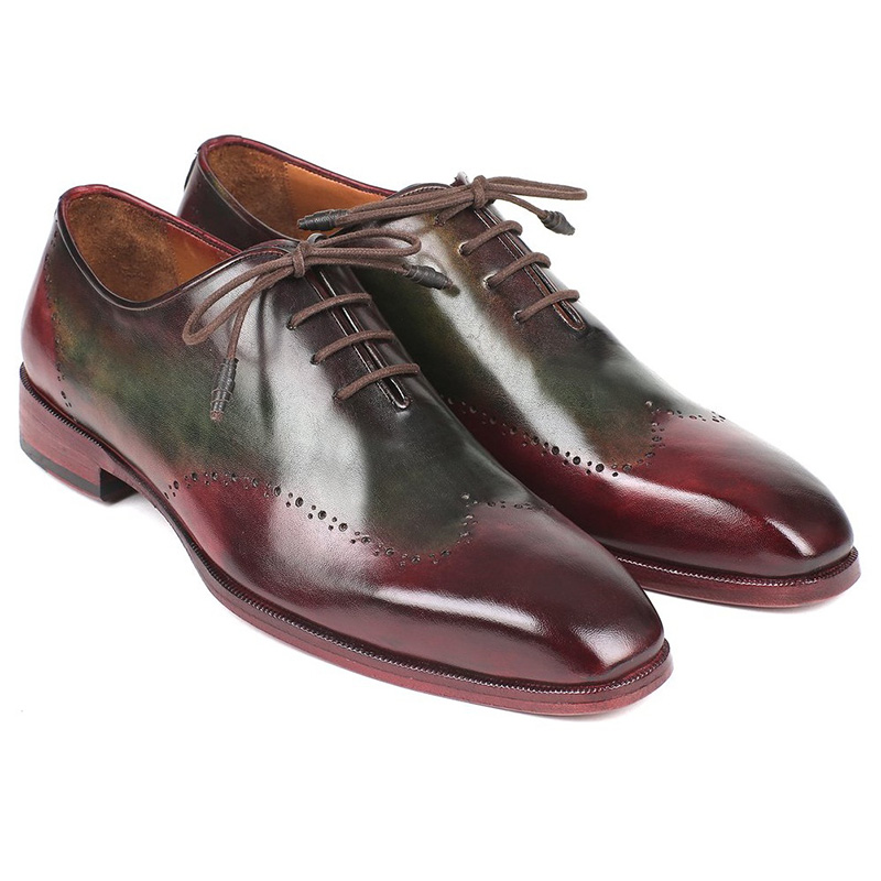 Paul Parkman Leather Wingtip Oxfords Bordeaux & Green Image