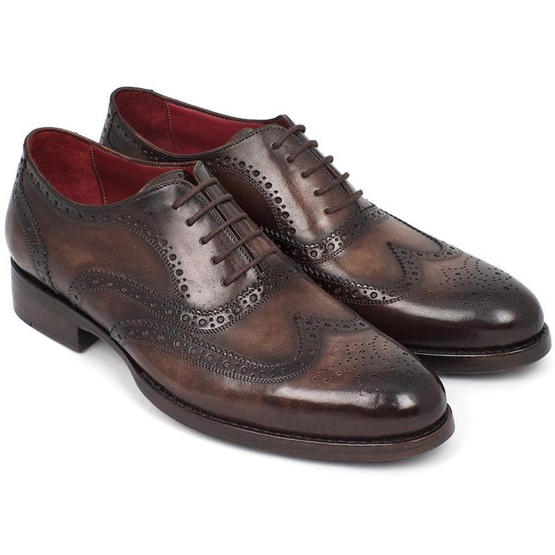 Paul Parkman Leather Wingtip Oxfords Brown Image