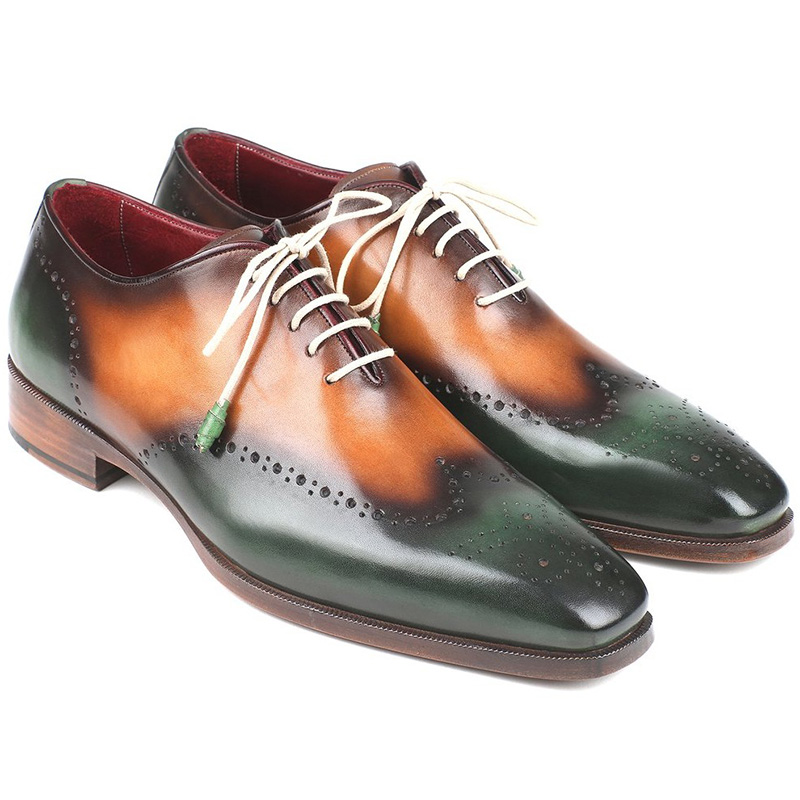 Paul Parkman Leather Wingtip Oxfords Green & Camel Image