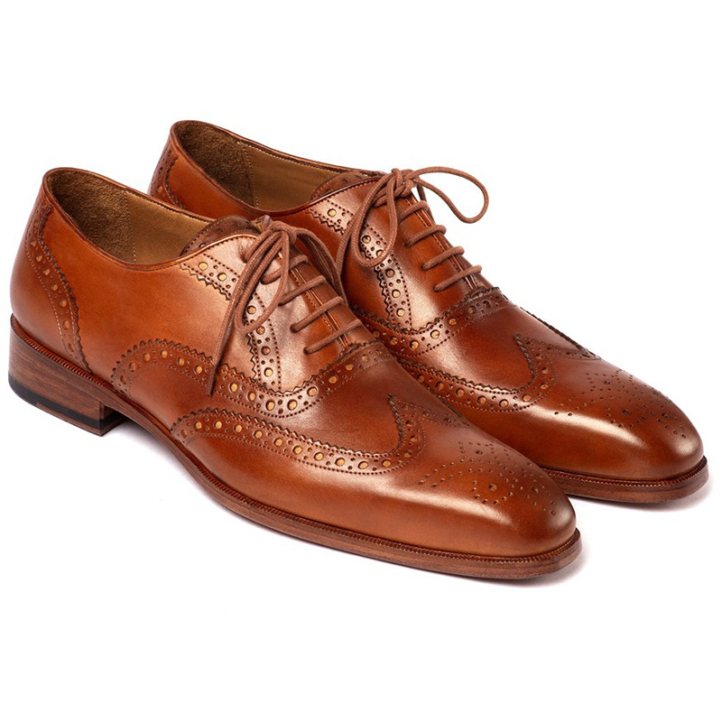 Paul Parkman Leather Wingtip Oxfords Mid Brown Image