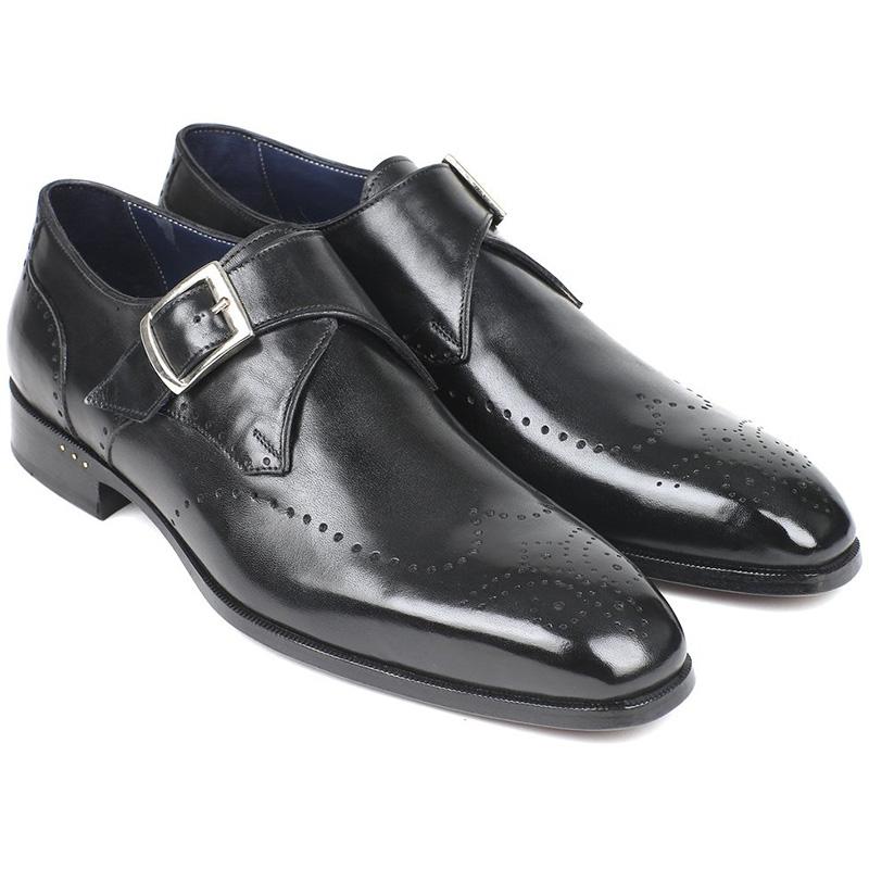 Paul Parkman Leather Wingtip Single Monk Strap Shoes Black Image