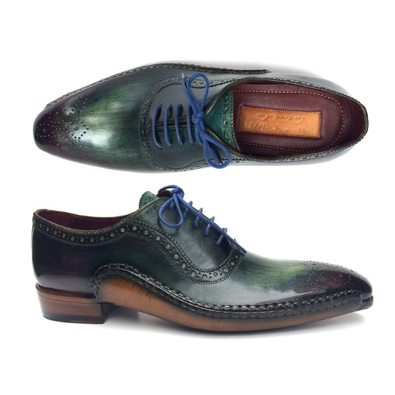 Paul Parkman Medallion Toe Oxfords Green / Purple Image