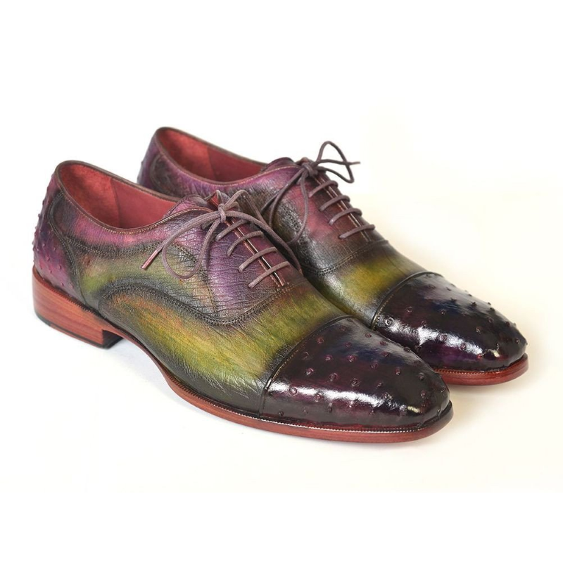 Paul Parkman Ostrich Quill Cap Toe Oxfords Green / Purple Image
