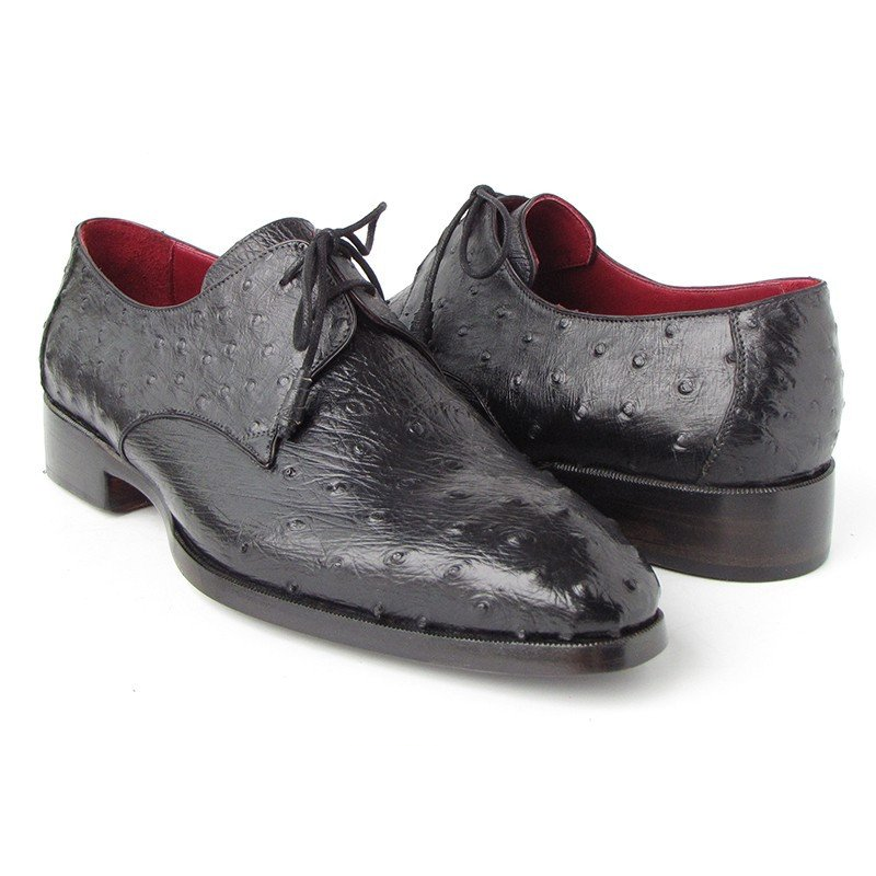 Paul Parkman Ostrich Quill Dress Shoes Black Image