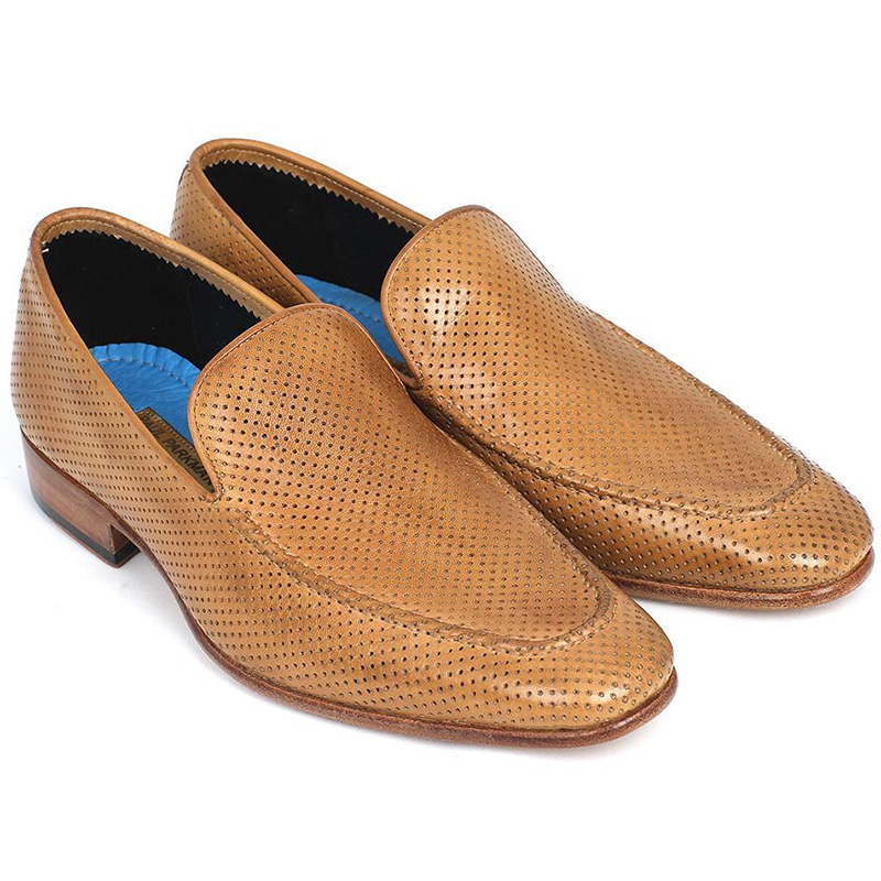Paul Parkman Perforated Leather Loafers Beige Image