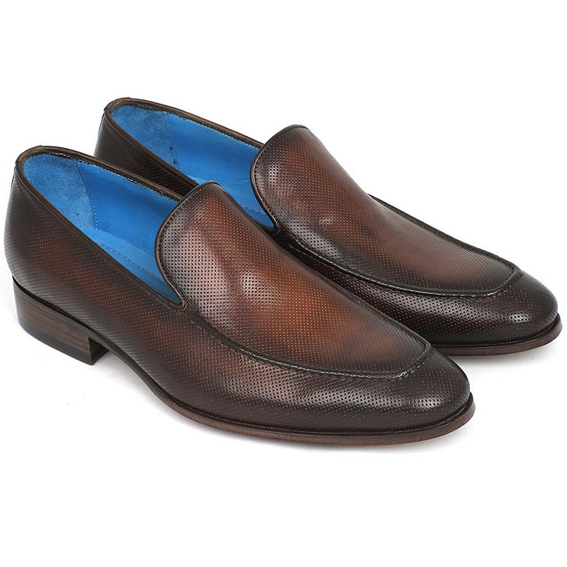 Paul Parkman Perforated Leather Loafers Brown Image