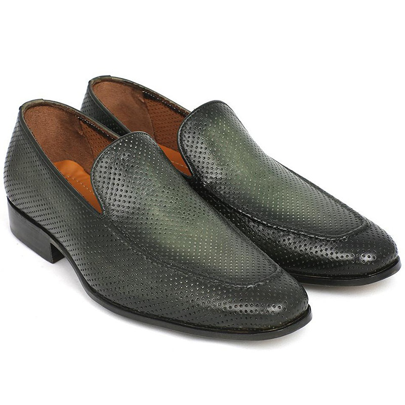 Paul Parkman Perforated Leather Loafers Green Image