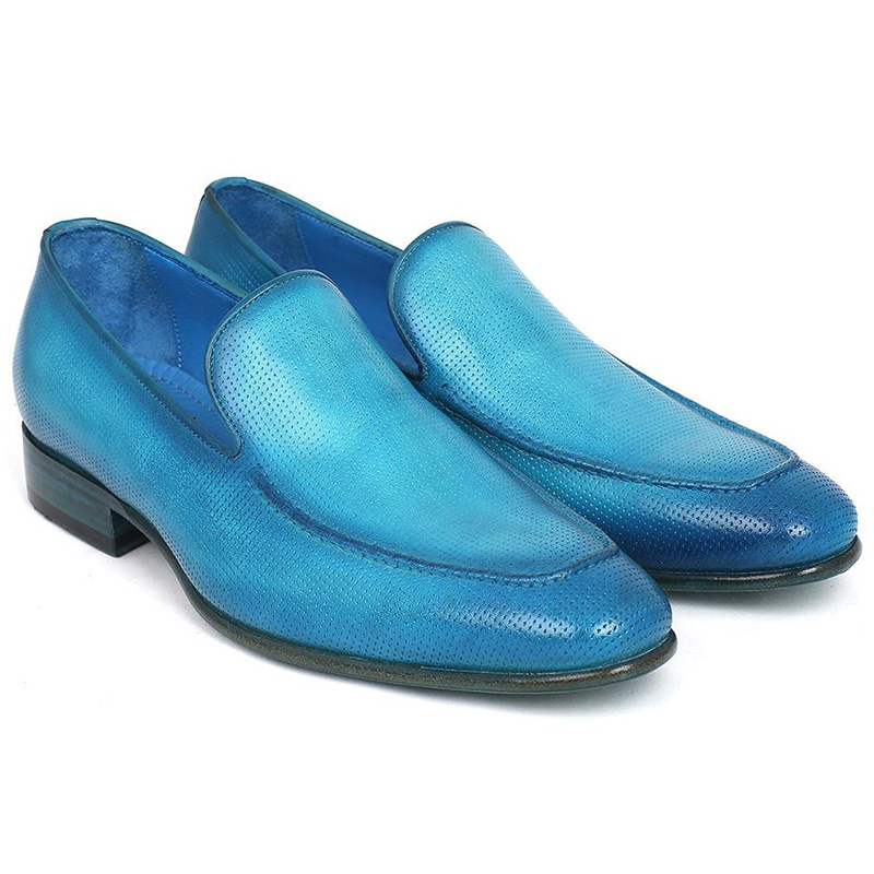 Paul Parkman Perforated Leather Loafers Turquoise Image