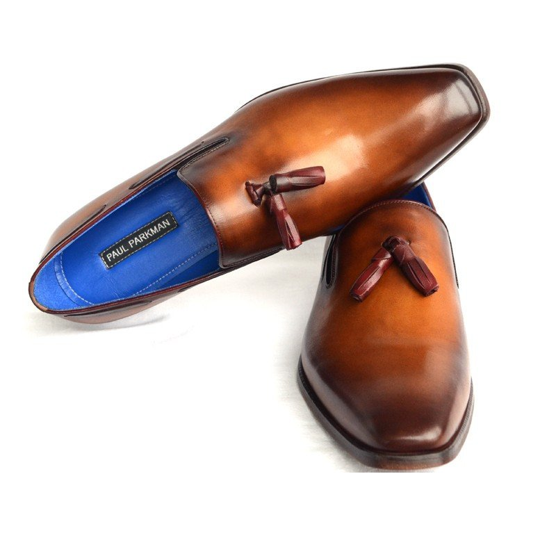 Paul Parkman Plain Toe Tassel Loafers Walnut Image