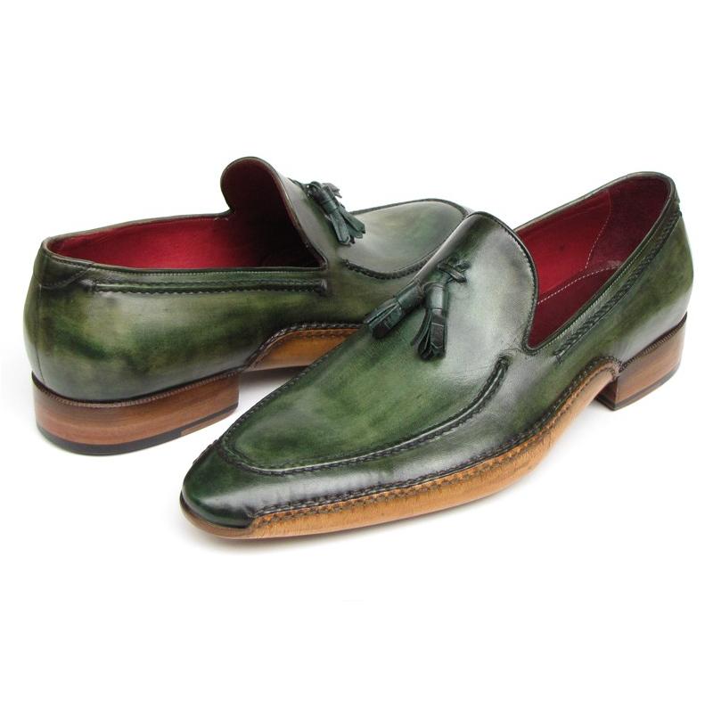 Paul Parkman Side Sewn Tassel Loafers Green Image