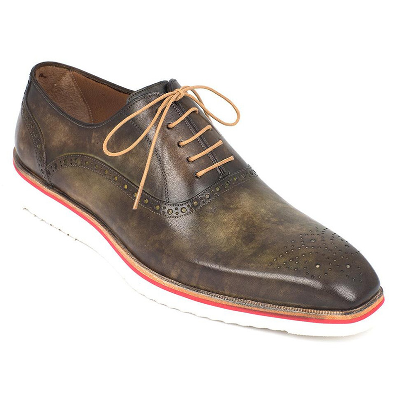 Paul Parkman Smart Casual Oxford Shoes Army Green Image