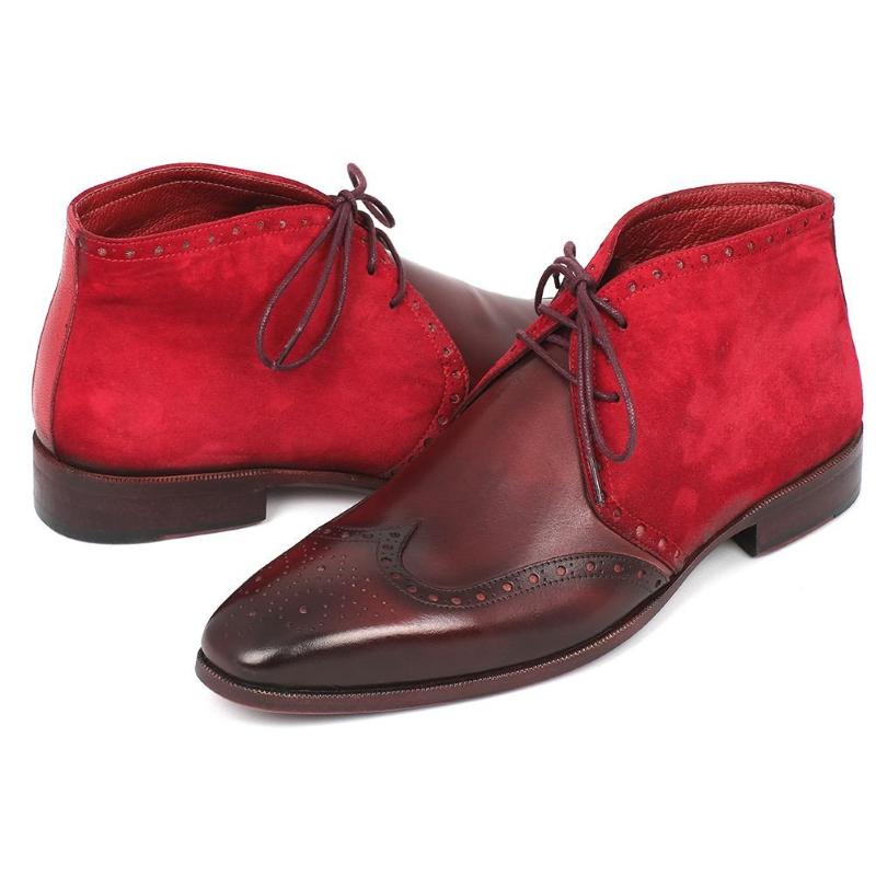 Paul Parkman Suede & Calfskin Chukka Boots Bordeaux Image