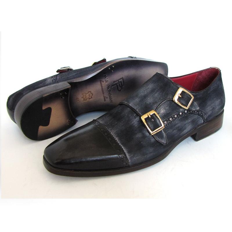 Paul Parkman Suede & Calfskin Double Monk Strap Shoes Navy Image