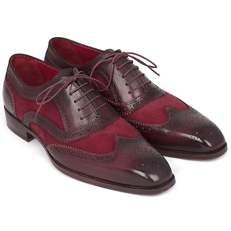 Paul Parkman Suede & Calfskin Wingtip Oxfords Bordeaux Image